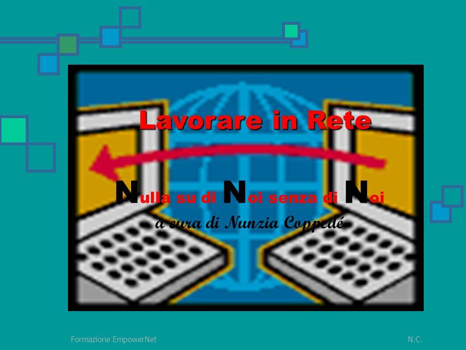 N.C.Formazione EmpowerNet insieme Significa lavorare con diversi attori per affrontare insieme una causa comune Cosa significa lavorare in rete
