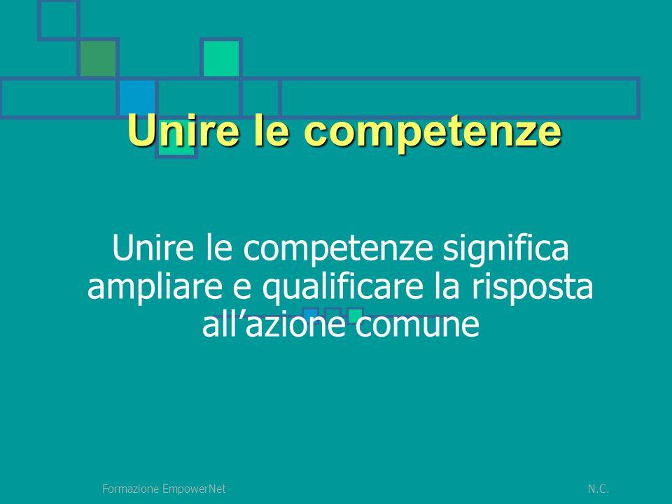 N.C.Formazione EmpowerNet Unire le competenze significa ampliare e qualificare la risposta allazione comune Unire le competenze