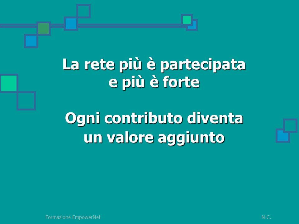 N.C.Formazione EmpowerNet La rete più è partecipata e più è forte Ogni contributo diventa un valore aggiunto