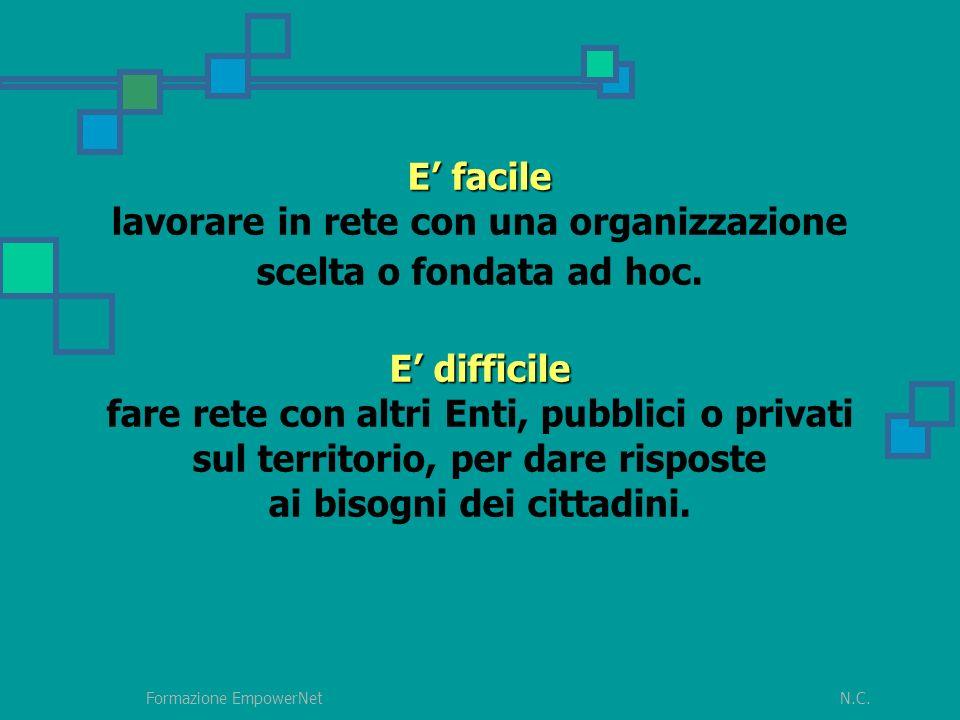 N.C.Formazione EmpowerNet E facile E difficile E facile lavorare in rete con una organizzazione scelta o fondata ad hoc.