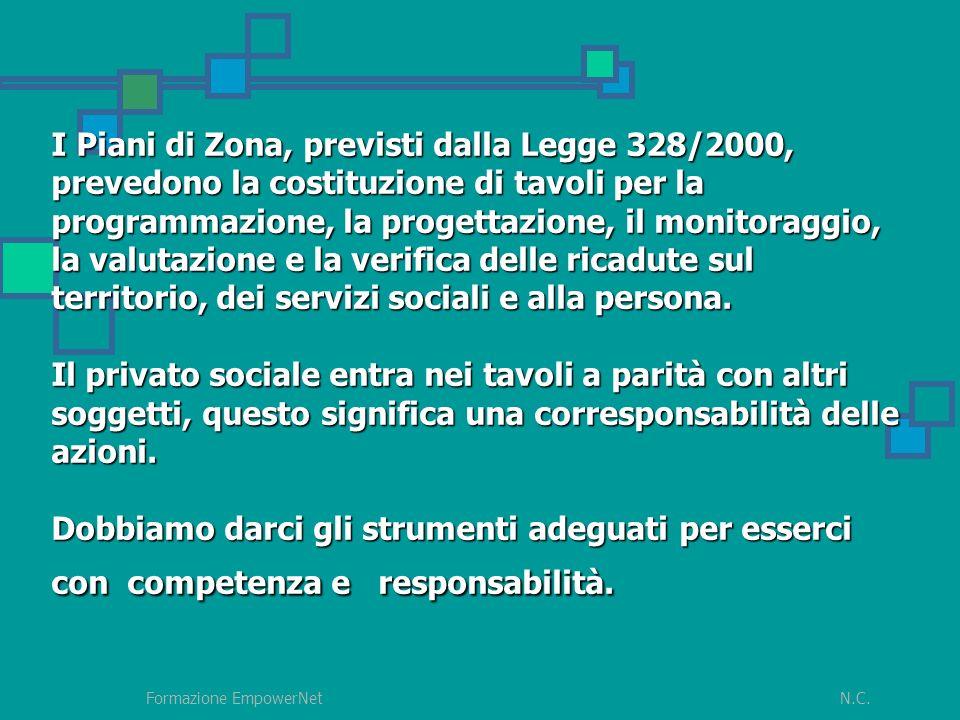 N.C.Formazione EmpowerNet I Piani di Zona, previsti dalla Legge 328/2000, prevedono la costituzione di tavoli per la programmazione, la progettazione, il monitoraggio, la valutazione e la verifica delle ricadute sul territorio, dei servizi sociali e alla persona.