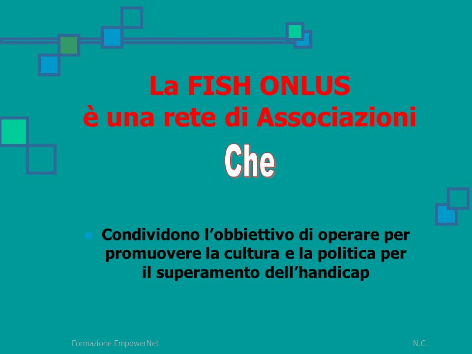 N.C.Formazione EmpowerNet La FISH ONLUS è una rete di Associazioni Condividono lobbiettivo di operare per promuovere la cultura e la politica per il superamento dellhandicap