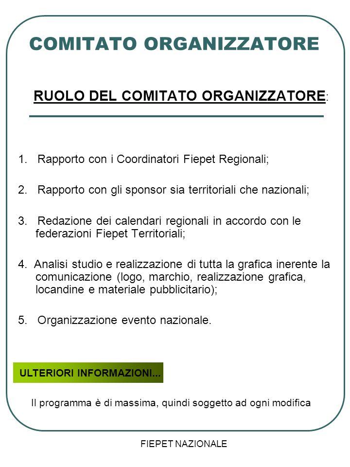 FIEPET NAZIONALE COMITATO ORGANIZZATORE RUOLO DEL COMITATO ORGANIZZATORE : 1. Rapporto con i Coordinatori Fiepet Regionali; 2. Rapporto con gli sponso