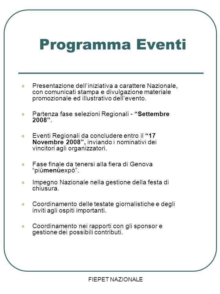 FIEPET NAZIONALE Programma Eventi Presentazione delliniziativa a carattere Nazionale, con comunicati stampa e divulgazione materiale promozionale ed i
