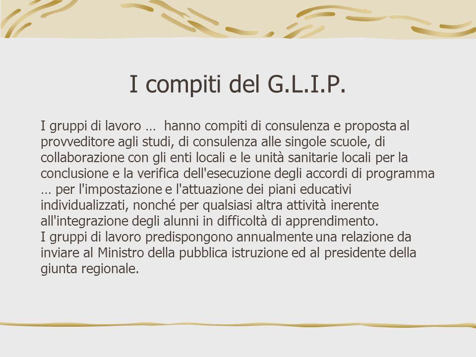 I compiti del G.L.I.P. I gruppi di lavoro … hanno compiti di consulenza e proposta al provveditore agli studi, di consulenza alle singole scuole, di c