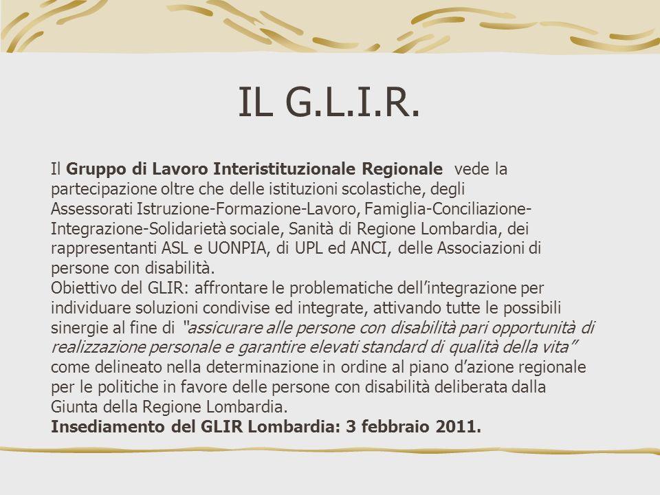 IL G.L.I.R. Il Gruppo di Lavoro Interistituzionale Regionale vede la partecipazione oltre che delle istituzioni scolastiche, degli Assessorati Istruzi