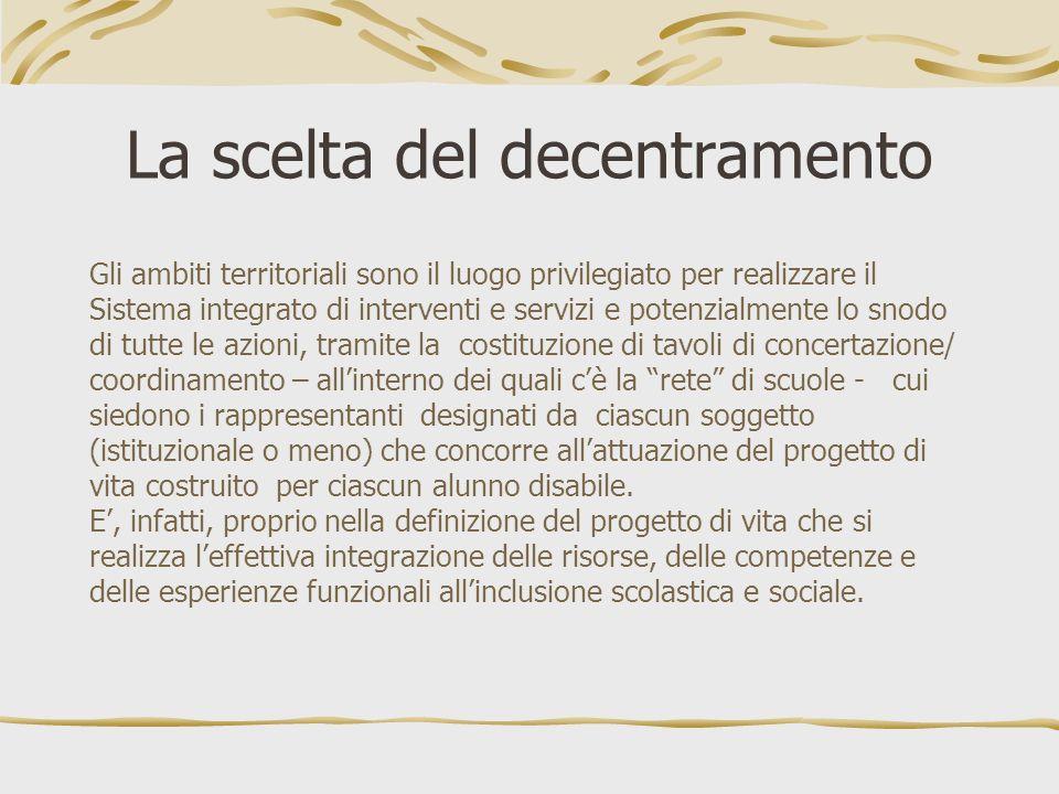 La scelta del decentramento Gli ambiti territoriali sono il luogo privilegiato per realizzare il Sistema integrato di interventi e servizi e potenzial