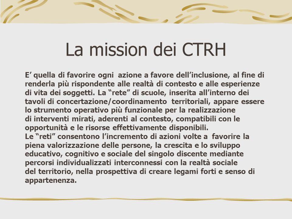 La mission dei CTRH E quella di favorire ogni azione a favore dellinclusione, al fine di renderla più rispondente alle realtà di contesto e alle esper