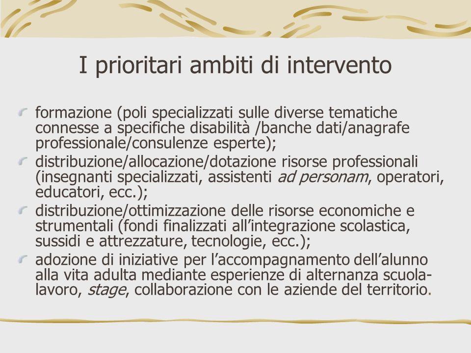 I prioritari ambiti di intervento formazione (poli specializzati sulle diverse tematiche connesse a specifiche disabilità /banche dati/anagrafe profes