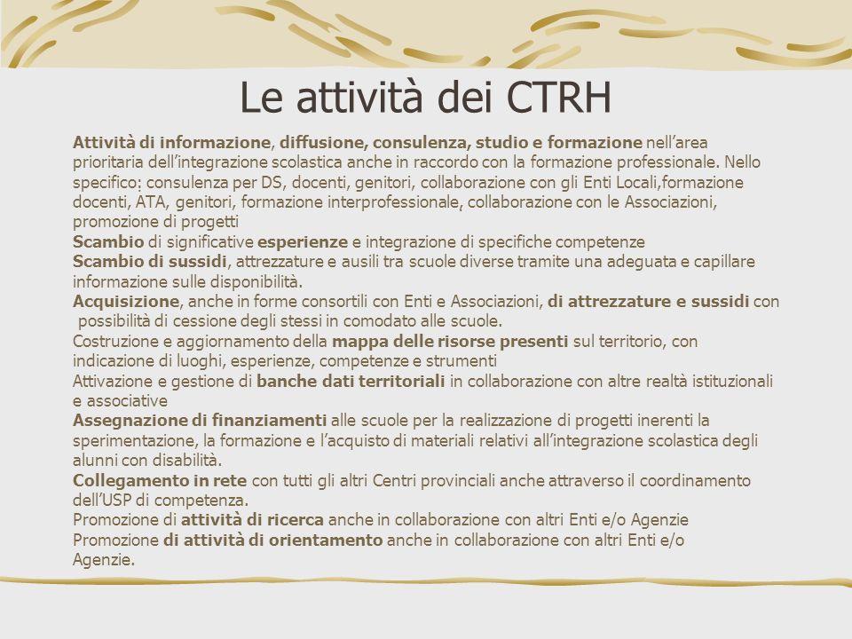 Le attività dei CTRH Attività di informazione, diffusione, consulenza, studio e formazione nellarea prioritaria dellintegrazione scolastica anche in r