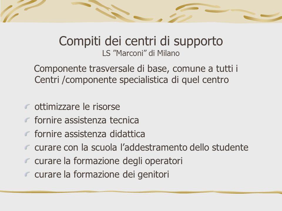 Compiti dei centri di supporto LS Marconi di Milano Componente trasversale di base, comune a tutti i Centri /componente specialistica di quel centro o