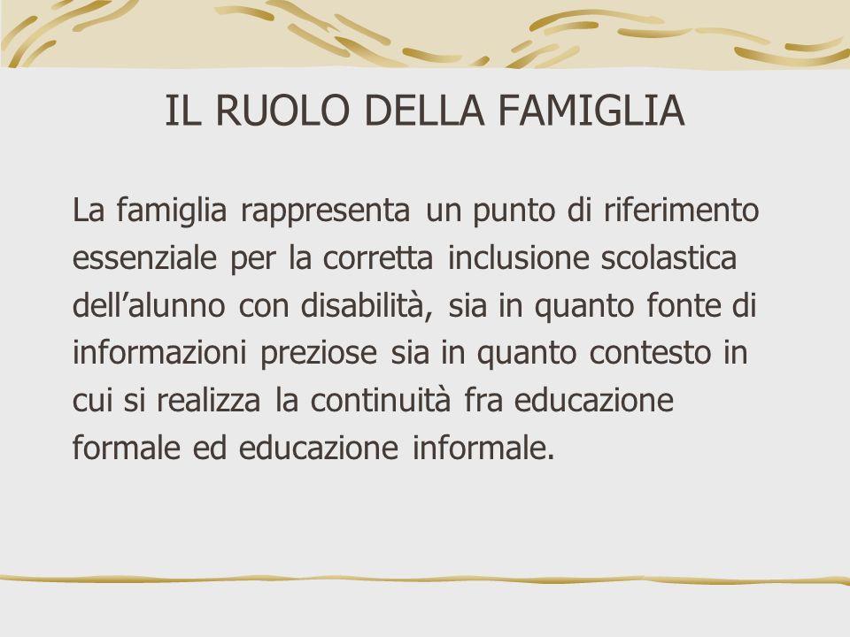 IL RUOLO DELLA FAMIGLIA La famiglia rappresenta un punto di riferimento essenziale per la corretta inclusione scolastica dellalunno con disabilità, si