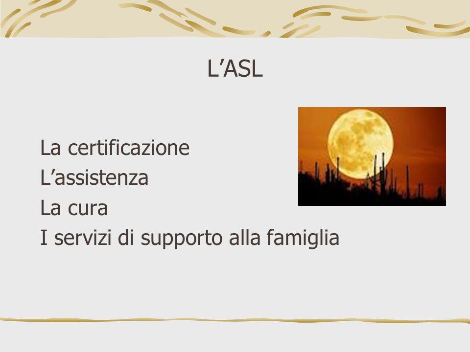 LASL La certificazione Lassistenza La cura I servizi di supporto alla famiglia