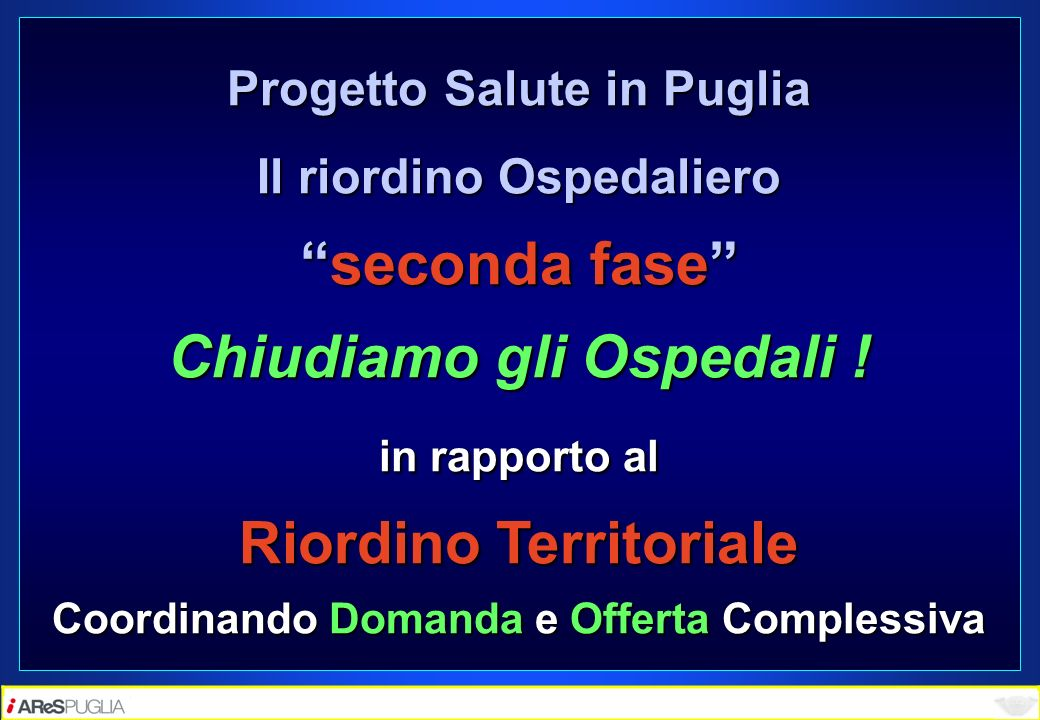 Progetto Salute in Puglia Il riordino Ospedaliero seconda faseseconda fase Chiudiamo gli Ospedali ! in rapporto al Riordino Territoriale Coordinando D