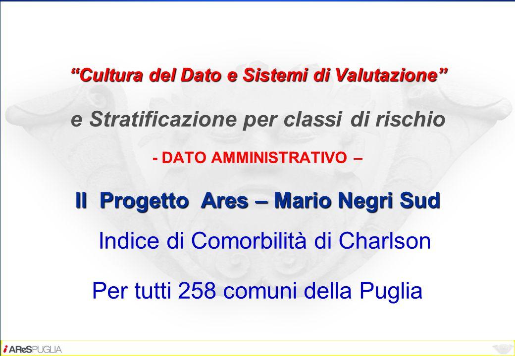 Cultura del Dato e Sistemi di Valutazione e Stratificazione per classi di rischio - DATO AMMINISTRATIVO – Il Progetto Ares – Mario Negri Sud Il Proget