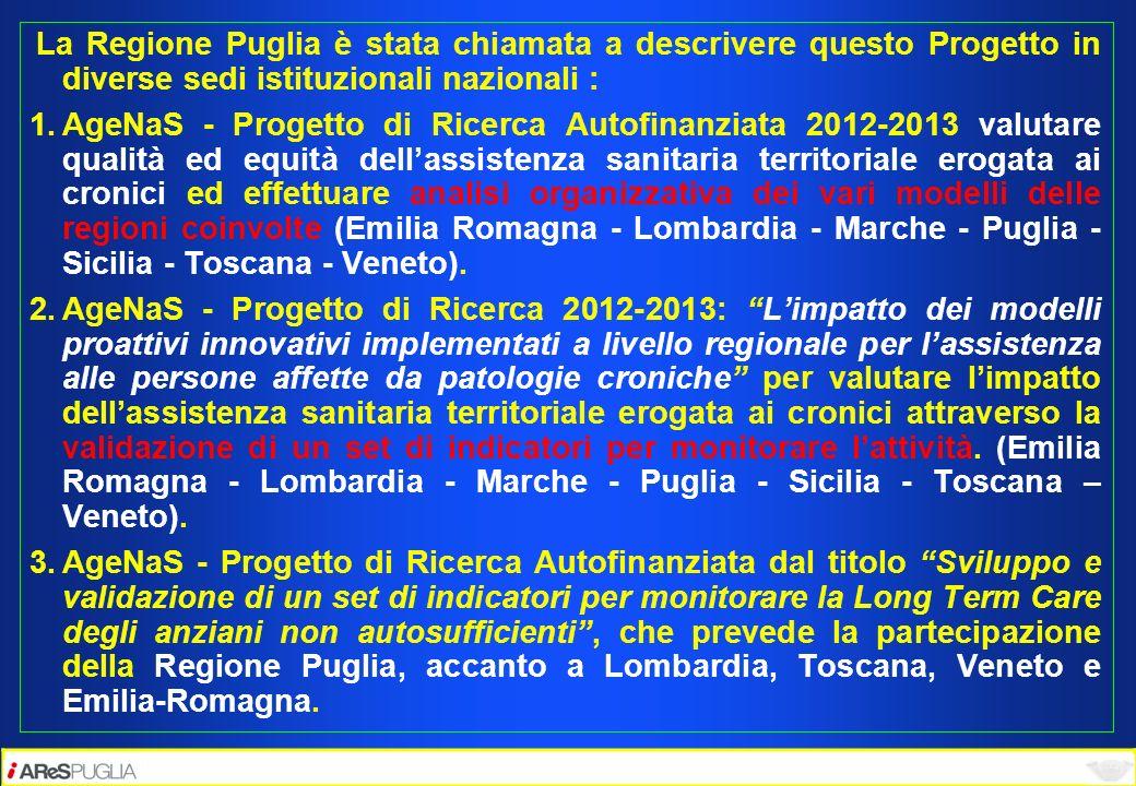 La Regione Puglia è stata chiamata a descrivere questo Progetto in diverse sedi istituzionali nazionali : 1.AgeNaS - Progetto di Ricerca Autofinanziat