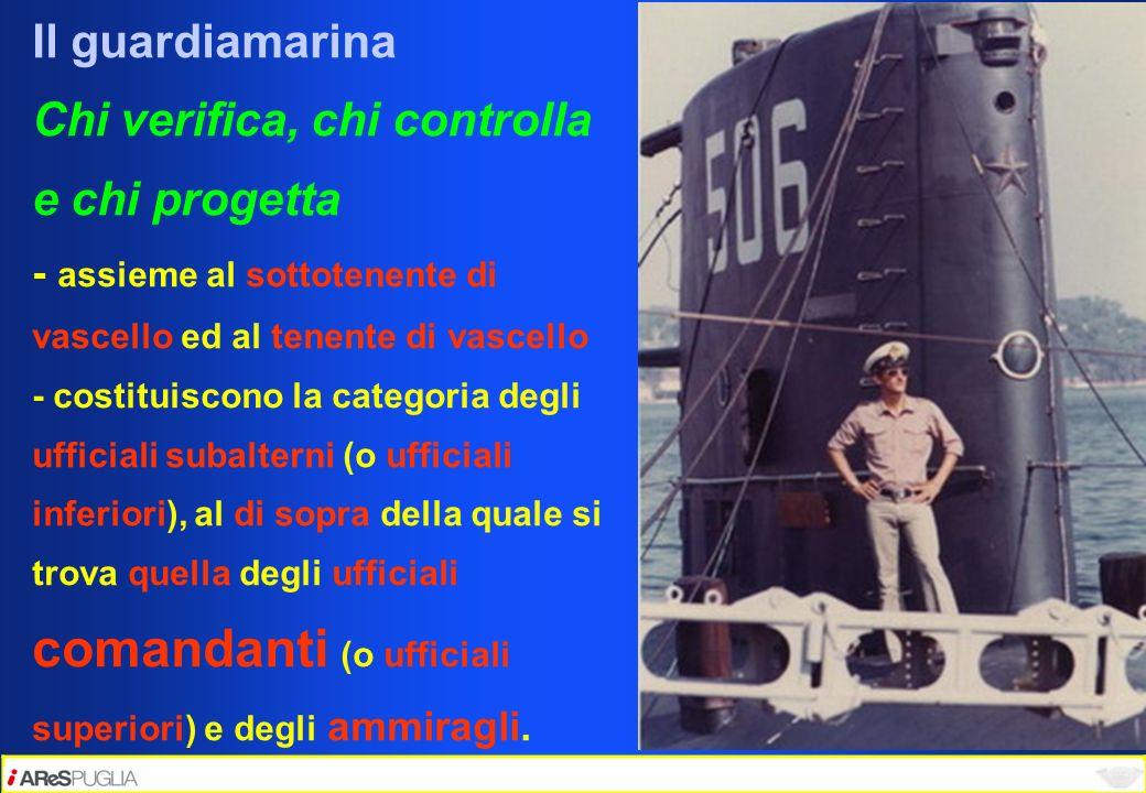 Il guardiamarina Chi verifica, chi controlla e chi progetta - assieme al sottotenente di vascello ed al tenente di vascello - costituiscono la categor