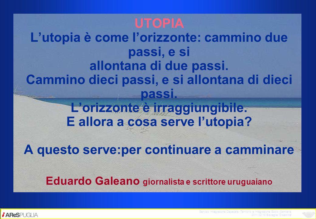 Servizio Integrazione Ospedale -Territorio e Integrazione Socio -Sanitaria 2011.02.18 Bisceglie Disabilità UTOPIA Lutopia è come lorizzonte: cammino d