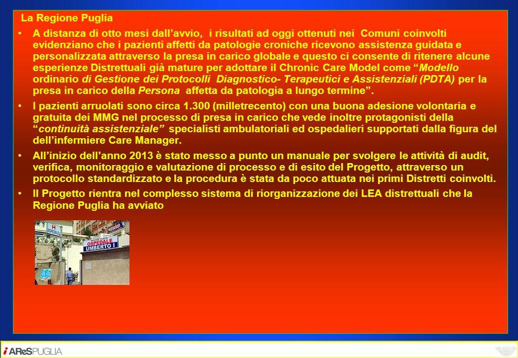 La Regione Puglia A distanza di otto mesi dallavvio, i risultati ad oggi ottenuti nei Comuni coinvolti evidenziano che i pazienti affetti da patologie
