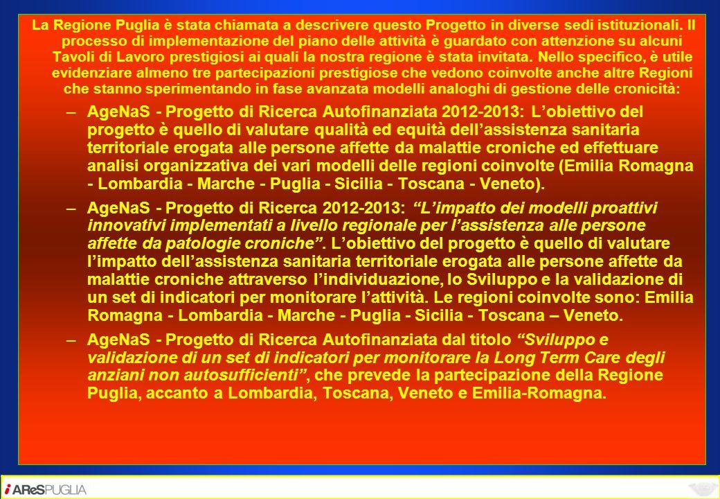 La Regione Puglia è stata chiamata a descrivere questo Progetto in diverse sedi istituzionali. Il processo di implementazione del piano delle attività