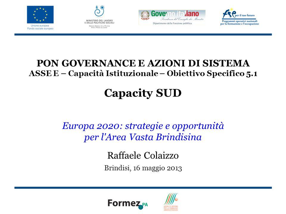 PON GOVERNANCE E AZIONI DI SISTEMA ASSE E – Capacità Istituzionale – Obiettivo Specifico 5.1 Capacity SUD Europa 2020: strategie e opportunità per l Area Vasta Brindisina Raffaele Colaizzo Brindisi, 16 maggio 2013