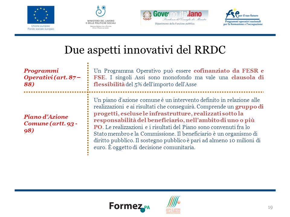 19 Due aspetti innovativi del RRDC Programmi Operativi (art.