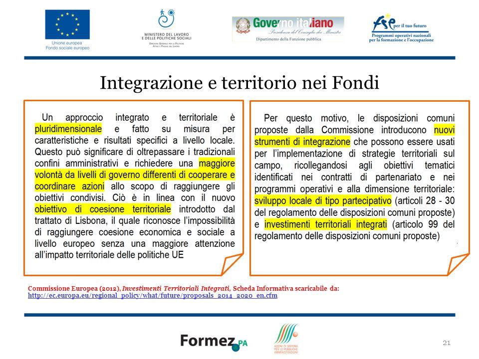 21 Integrazione e territorio nei Fondi Commissione Europea (2012), Investimenti Territoriali Integrati, Scheda Informativa scaricabile da: http://ec.europa.eu/regional_policy/what/future/proposals_2014_2020_en.cfm