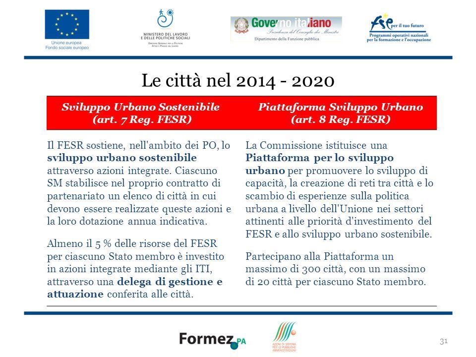 31 Le città nel 2014 - 2020 Sviluppo Urbano Sostenibile (art.