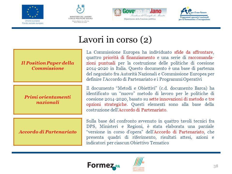 38 Il Position Paper della Commissione La Commissione Europea ha individuato sfide da affrontare, quattro priorità di finanziamento e una serie di raccomanda- zioni puntuali per la costruzione delle politiche di coesione 2014-2020 in Italia.