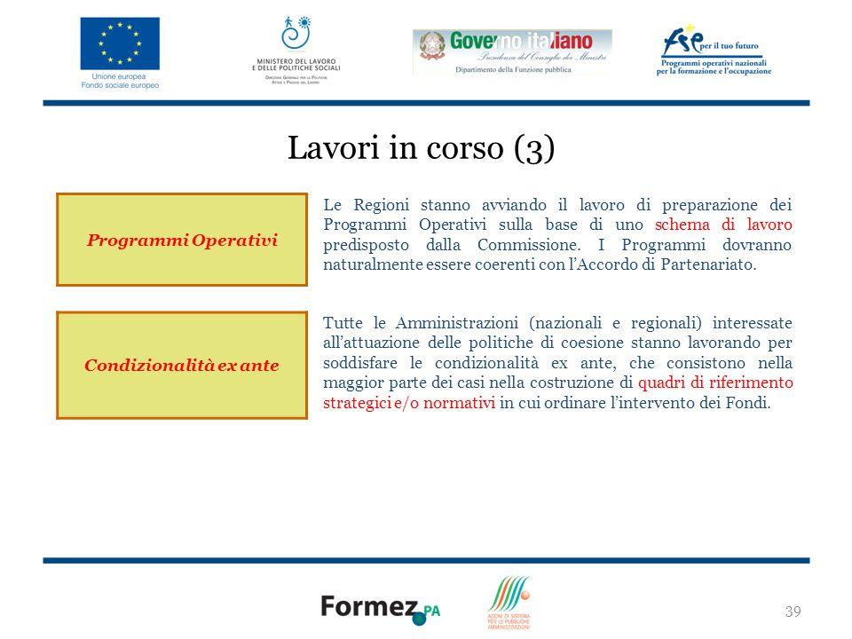 39 Programmi Operativi Le Regioni stanno avviando il lavoro di preparazione dei Programmi Operativi sulla base di uno schema di lavoro predisposto dalla Commissione.