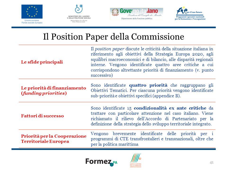 41 Il Position Paper della Commissione Le sfide principali Il position paper discute le criticità della situazione italiana in riferimento agli obiettivi della Strategia Europa 2020, agli squilibri macroeconomici e di bilancio, alle disparità regionali interne.