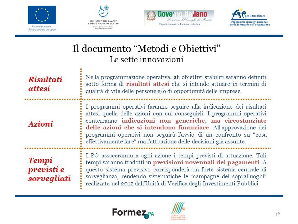 46 Il documento Metodi e Obiettivi Le sette innovazioni Risultati attesi Nella programmazione operativa, gli obiettivi stabiliti saranno definiti sotto forma di risultati attesi che si intende attuare in termini di qualità di vita delle persone e/o di opportunità delle imprese.
