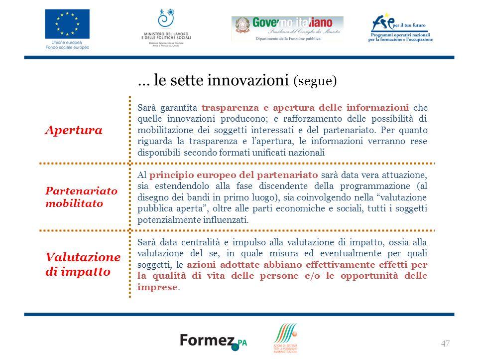 47 Apertura Sarà garantita trasparenza e apertura delle informazioni che quelle innovazioni producono; e rafforzamento delle possibilità di mobilitazione dei soggetti interessati e del partenariato.