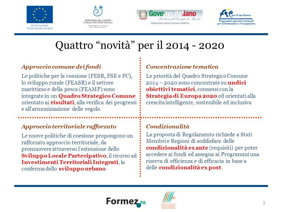 5 Quattro novità per il 2014 - 2020 Approccio comune dei fondi Le politiche per la coesione (FESR, FSE e FC), lo sviluppo rurale (FEASR) e il settore marittimo e della pesca (FEAMP) sono integrate in un Quadro Strategico Comune orientato ai risultati, alla verifica dei progressi e all armonizzazione delle regole.