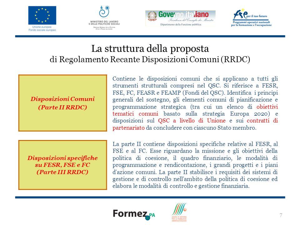 7 La struttura della proposta di Regolamento Recante Disposizioni Comuni (RRDC) Disposizioni Comuni (Parte II RRDC) Contiene le disposizioni comuni che si applicano a tutti gli strumenti strutturali compresi nel QSC.