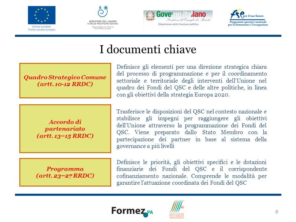 8 I documenti chiave Quadro Strategico Comune (artt.