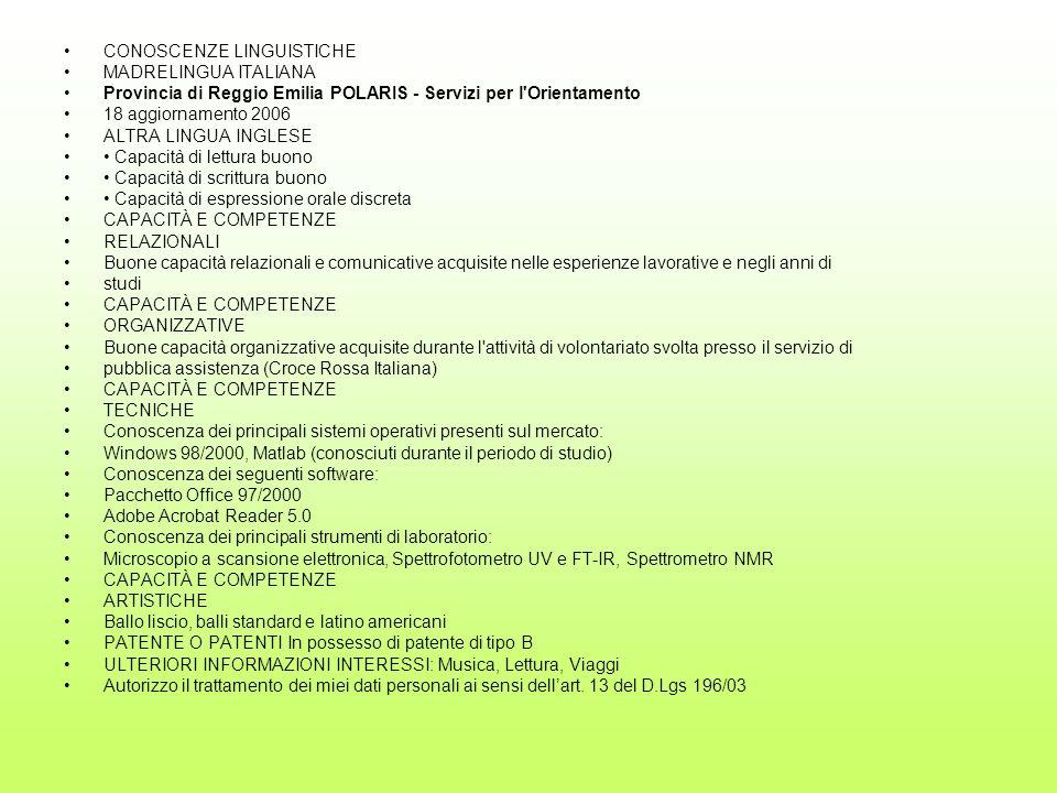 CONOSCENZE LINGUISTICHE MADRELINGUA ITALIANA Provincia di Reggio Emilia POLARIS - Servizi per l'Orientamento 18 aggiornamento 2006 ALTRA LINGUA INGLES
