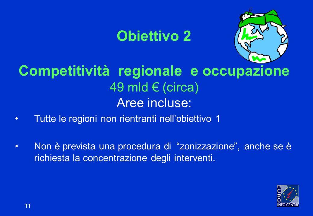 11 Obiettivo 2 Competitività regionale e occupazione 49 mld (circa) Aree incluse: Tutte le regioni non rientranti nellobiettivo 1 Non è prevista una procedura di zonizzazione, anche se è richiesta la concentrazione degli interventi.