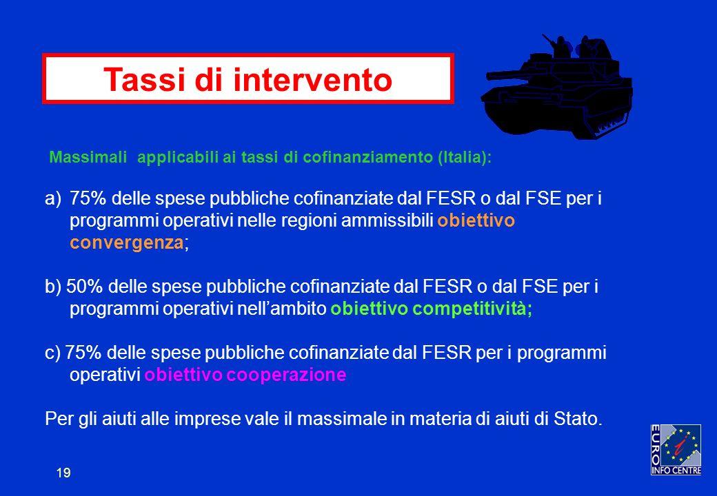 19 Tassi di intervento Massimali applicabili ai tassi di cofinanziamento (Italia): a)75% delle spese pubbliche cofinanziate dal FESR o dal FSE per i programmi operativi nelle regioni ammissibili obiettivo convergenza; b) 50% delle spese pubbliche cofinanziate dal FESR o dal FSE per i programmi operativi nellambito obiettivo competitività; c) 75% delle spese pubbliche cofinanziate dal FESR per i programmi operativi obiettivo cooperazione Per gli aiuti alle imprese vale il massimale in materia di aiuti di Stato.