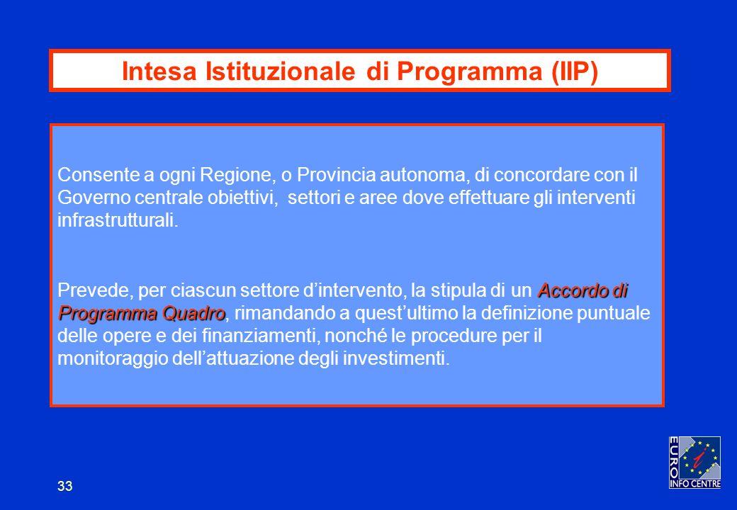 33 Intesa Istituzionale di Programma (IIP) Consente a ogni Regione, o Provincia autonoma, di concordare con il Governo centrale obiettivi, settori e aree dove effettuare gli interventi infrastrutturali.