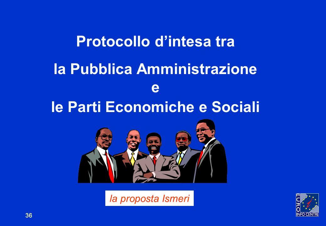 36 Protocollo dintesa tra la Pubblica Amministrazione e le Parti Economiche e Sociali la proposta Ismeri