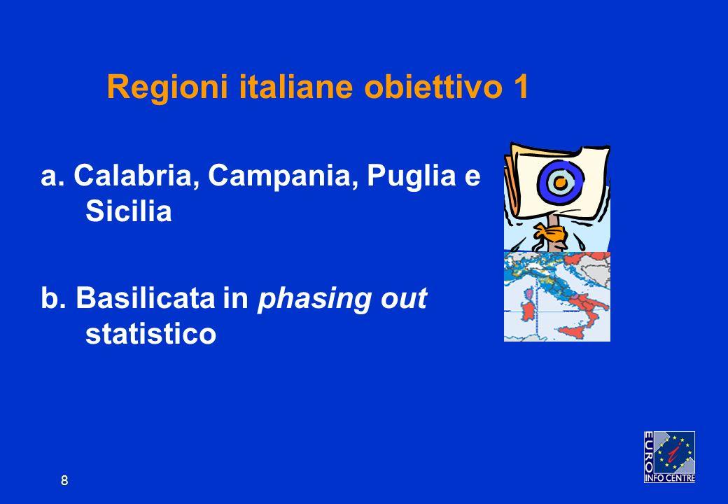 8 Regioni italiane obiettivo 1 a. Calabria, Campania, Puglia e Sicilia b.