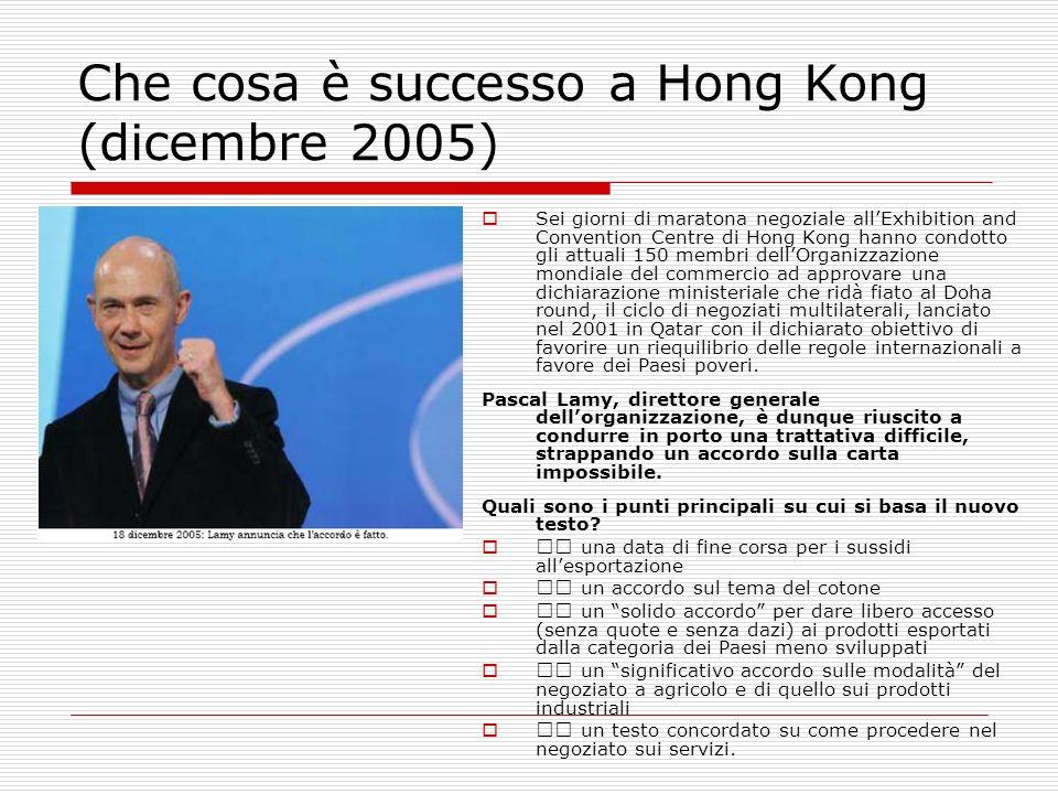 Che cosa è successo a Hong Kong (dicembre 2005) Sei giorni di maratona negoziale allExhibition and Convention Centre di Hong Kong hanno condotto gli a