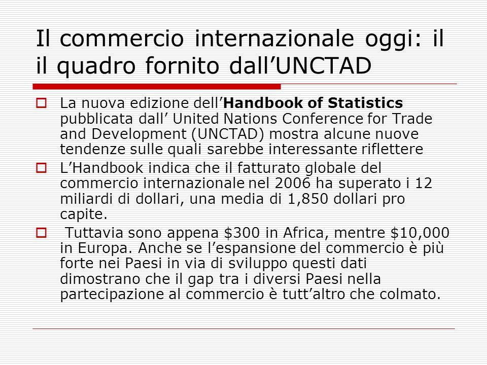 Il commercio internazionale oggi: il il quadro fornito dallUNCTAD La nuova edizione dellHandbook of Statistics pubblicata dall United Nations Conferen