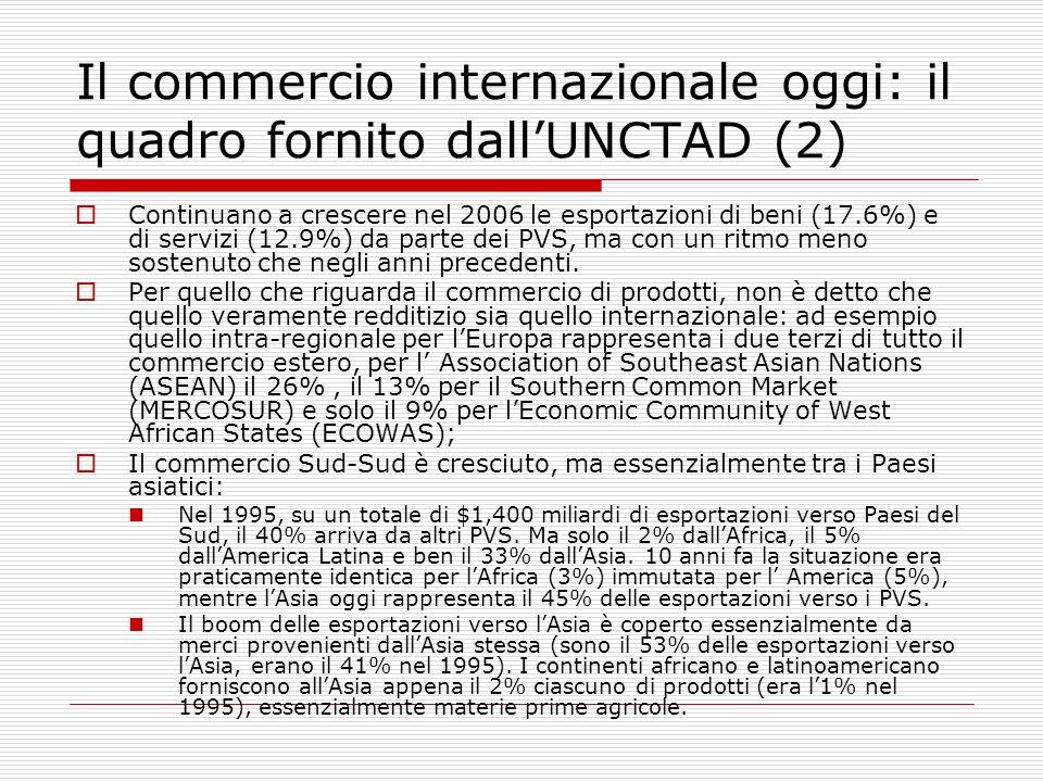 Il commercio internazionale oggi: il quadro fornito dallUNCTAD (2) Continuano a crescere nel 2006 le esportazioni di beni (17.6%) e di servizi (12.9%)