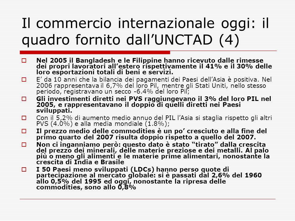 Il commercio internazionale oggi: il quadro fornito dallUNCTAD (4) Nel 2005 il Bangladesh e le Filippine hanno ricevuto dalle rimesse dei propri lavor