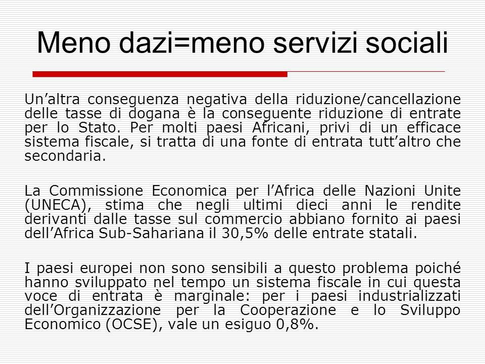 Meno dazi=meno servizi sociali Unaltra conseguenza negativa della riduzione/cancellazione delle tasse di dogana è la conseguente riduzione di entrate