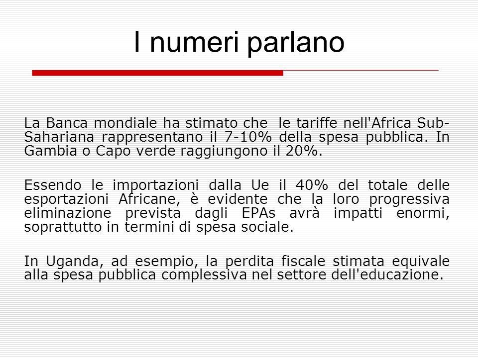 I numeri parlano La Banca mondiale ha stimato che le tariffe nell'Africa Sub- Sahariana rappresentano il 7-10% della spesa pubblica. In Gambia o Capo