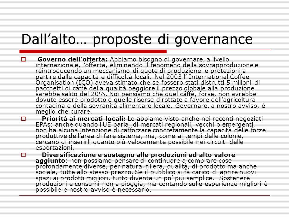 Dallalto… proposte di governance Governo dellofferta: Abbiamo bisogno di governare, a livello internazionale, lofferta, eliminando il fenomeno della s