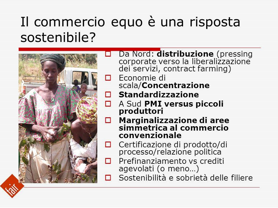 Il commercio equo è una risposta sostenibile? Da Nord: distribuzione (pressing corporate verso la liberalizzazione dei servizi, contract farming) Econ